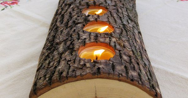 Another pinner: DIY tealight wood candle holder. I did this with a