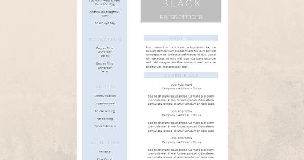 Resume Template Professional CV and Cover Letter For MS Word - media officer sample resume