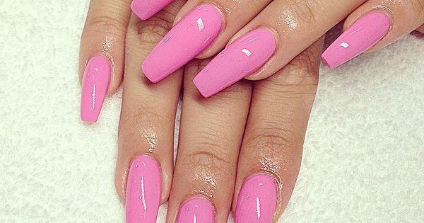 Gel Pink Coffin Nails