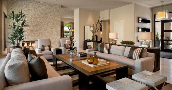 modernes wohnzimmer taupe braun kombination natursteinwand, Hause ideen