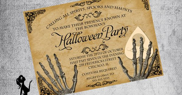 gothic invitation adult halloween party ouija board. Black Bedroom Furniture Sets. Home Design Ideas