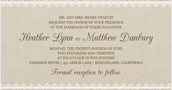 elegant rustic wedding invitations - Google Search