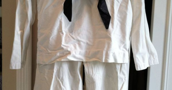 1950 S Coast Guard Or Navy Uniform With Tie White Cotton