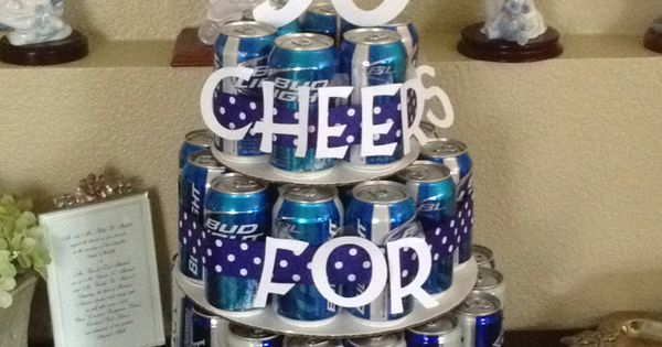 Chases 30th birthday idea!!! 50th birthday present. 50 beers in a cake......or