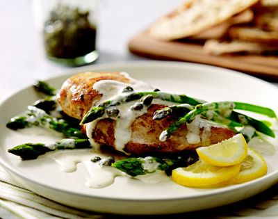 Creamy Chicken Piccata and Asparagus 4 small boneless skinless chicken breast halves