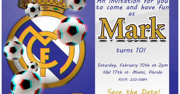 3D Real Madrid Birthday Invitation - WEAR ON YOUR 3D ...