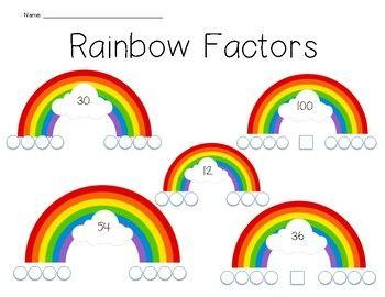 Rainbow Factors Worksheet Factors And Multiples Math Projects Sixth Grade Math