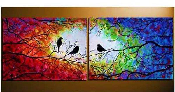 Cuadros tripticos arbol de la vida y pajaros pintados a for Cuadros pintados a mano