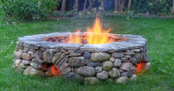 Fire pit with openings at the bottom for airflow and keep feet