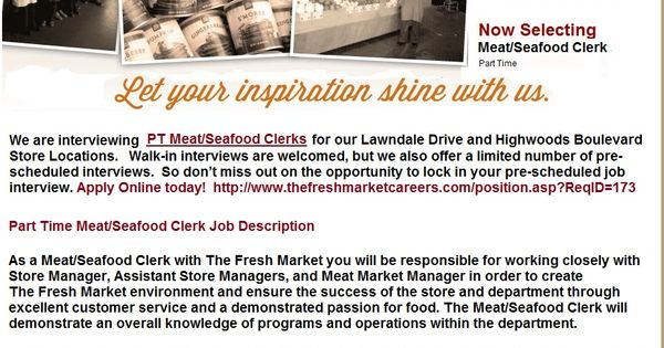 Greensboro NC Grocery Store Jobs PT Meat Seafood Clerks Grocery - courtesy clerk