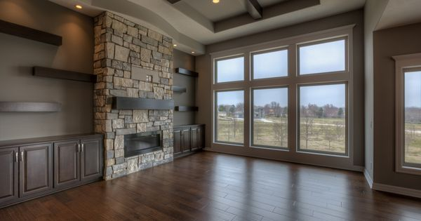 Grand Fireplace W Vaulted Ceilings Beams Open Floor: Great Room With Ceiling High Stone Fireplace, Built-in
