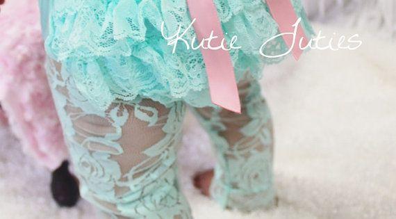 Aqua Lace Diaper Cover, Pink Bow, Pink Chiffon Headband Flower, bloomers, newborn,