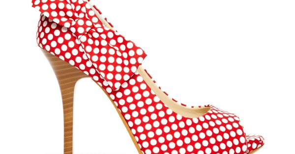 Red polka dot bow heels