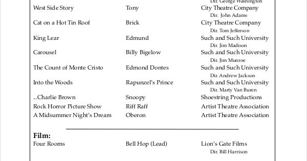 Musical Theatre Resume Template , The General Format And Tips For The Theatre Resume Template