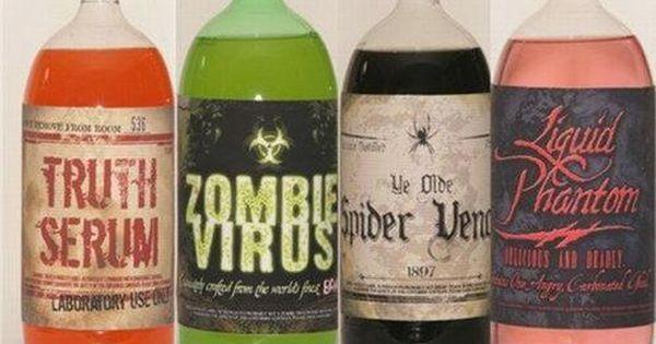 Halloween labels for soda bottles