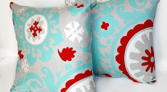 I like this color combo. 2 DECORATIVE PILLOW Covers - THROW Pillows - 18 x 18 inches - Gray Blue ...