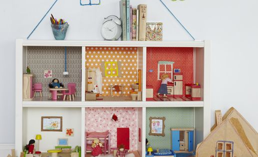 Great Idea for my little girls room!! Unique dollhouse!