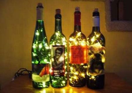 Wine Bottle Twinkle Light and 3 other wine bottle craft ideas