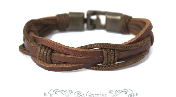Bracelet With Name Birthday Jewellery Gifts Leather Braided Engraved MIKE