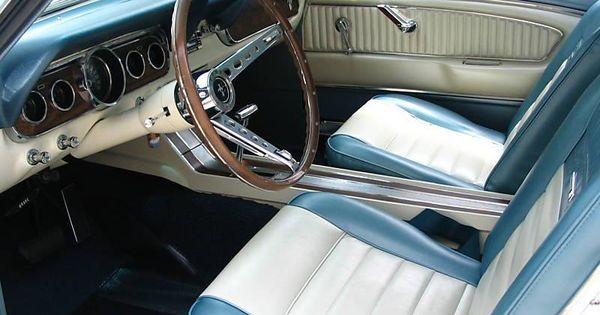 1966 Mustang Hardtop Mine Had The Aquamarine And White Pony Interior Past Loves Pinterest