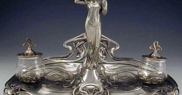 Art nouveau encrier double 39 femme au miroir 39 argent for Miroir art nouveau
