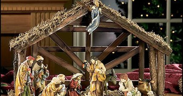 12 Pc Nativity Set With Wood Stable Nativity Stable Nativity Set Outdoor Nativity