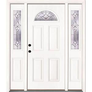 Feather River Doors 63 5 In X 81 625 In Medina Zinc Fan Lite Unfinished Smooth Right Hand Fiberglass Prehung Front Door With Sidelites 432105 3a1 The Home D Fiberglass Entry Doors Entry Doors Fiberglass Door
