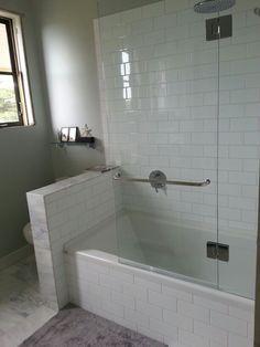 Bathroom Half Glass Wall Tub Shower Combo Remodel Tub Shower Combo Shower Tub