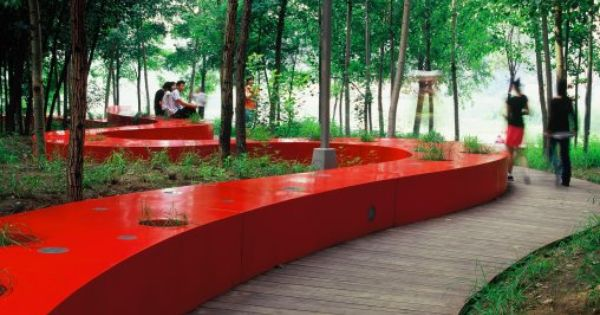 Red ribbon park qinhuangdao china extreme architecture for Red landscape architects