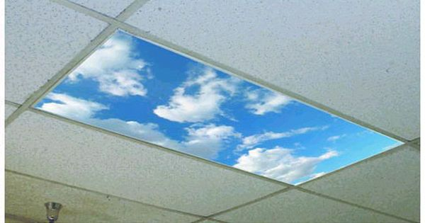 Fluffy clouds overhead light cover turn fluorescent lights into skylights i 39 ve seen these in - Classroom fluorescent light covers ...