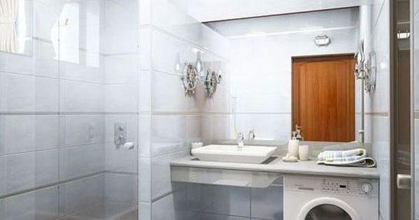 Petite salle de bain 30 id es d am nagement lave linge - Seche linge salle de bain ...