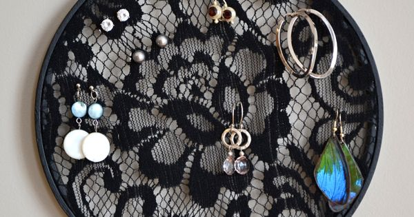 Black lace earring hanger; pair it with the other emboridery hoop jewelry