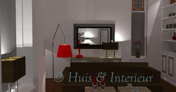 Woonkamer zicht bij binnenkomst in de spiegel zie je de kamerdeur met het schrijfhoekje - Spiegel in de woonkamer ...