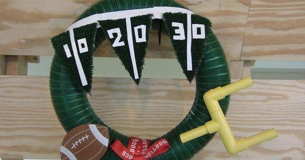 A decorative piece for the entrance to the ManCave. Football Wreath holidays