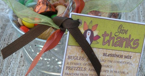 Thanksgiving blessing mix - would make a sweet teacher's gift. Template for