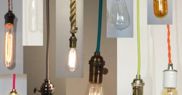 Ceiling Lights Not Hardwired : Custom pendant light hanging vintage edison