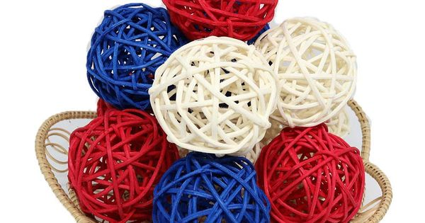 Thailands Gifts Small Blue White Red Rattan Ball Wicker Balls Diy Vase And Bowl Filler Ornament Decorative Spheres B Decorative Spheres Diy Vase Bowl Fillers