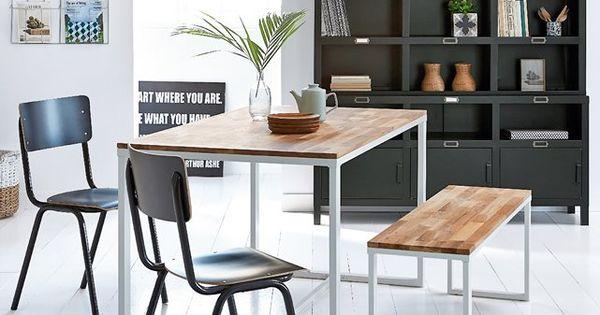 Table 4 couverts en ch ne massif about et acier hiba la for Dresser table couverts