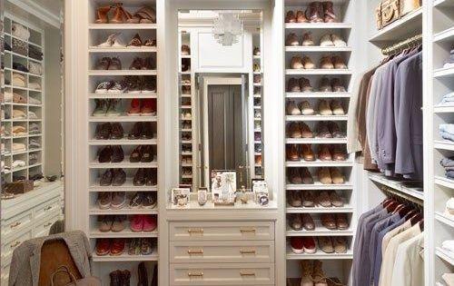Beautiful walk in closet dressing room, white, elegant with plenty of shoe
