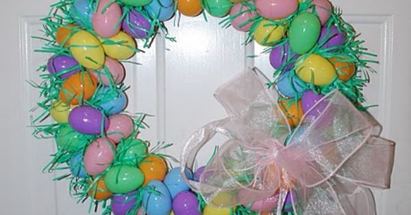 easter egg wreath with plastic eggs