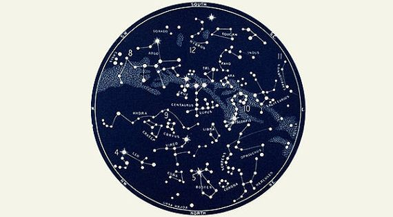 Vertical Circular Constellation Map Star Chart In Triptych