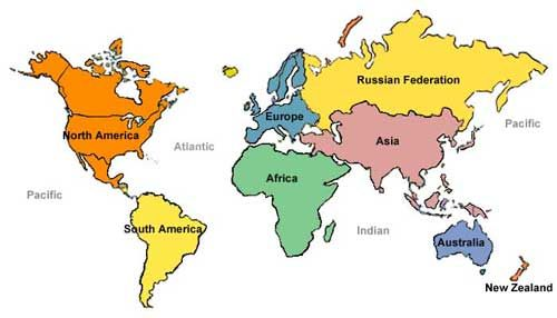 Image result for simple map of the world""