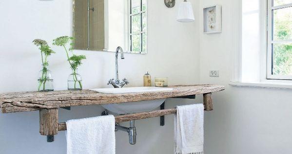 Un plan vasque en bois brut de chez brut what a nice sdb pinterest beautiful vanit de - Badkamer recup ...