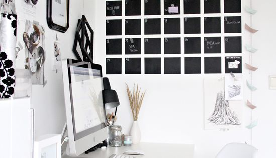 Black & White workspace desk. Very clean and uncluttered. Love the black