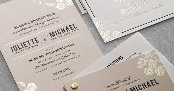 Foil stamped letterpress wedding invitation by Dauphine Press. Simple yet elegant
