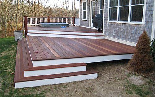 Curved Backyard Decks Meranti Deck With Built In Hot Tub