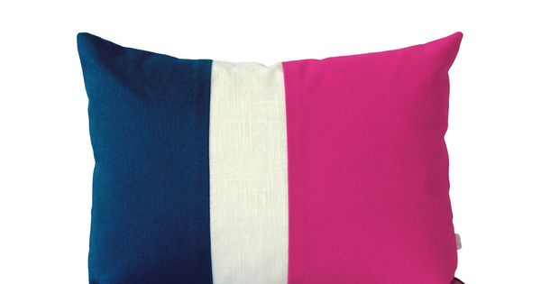 Navy And Pink Decorative Pillows: Colorblock Stripe Pillow In Hot Pink, Cream And Navy Linen