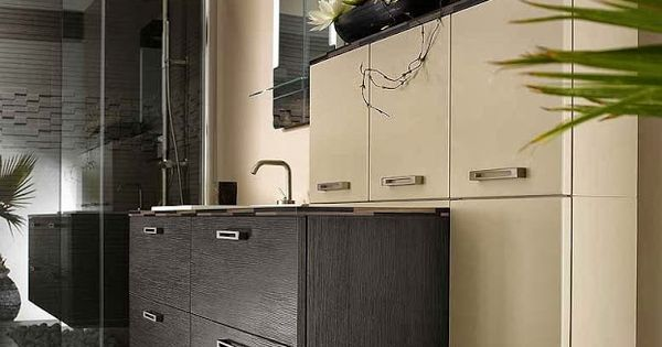 Meuble de salle de bain beige et marron style moderne et for Meuble salle de bain marron