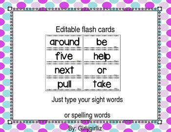 You Can Make Your Own Flash Cards Sight Word Cards Or Spelling Word Cards With This Great Template Each Word H Spelling Words Flash Card Template Flashcards
