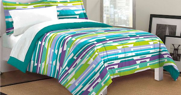Lime Green Blue Purple Bubbles & Stripes Teen Girl Bedding